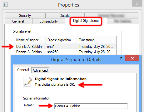 Digital signature for Dennis A. Babkin