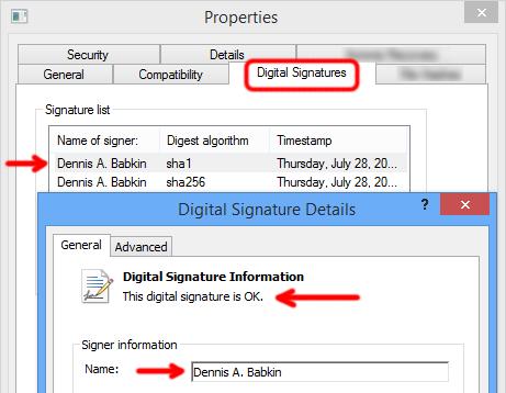 Digital signature for Dennis A. Babkin