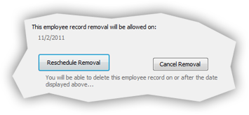 Scheduled force employee record removal