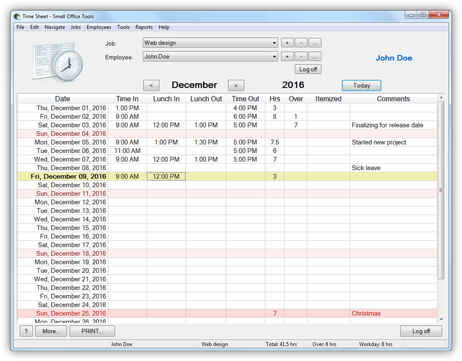 Time Sheet program main window