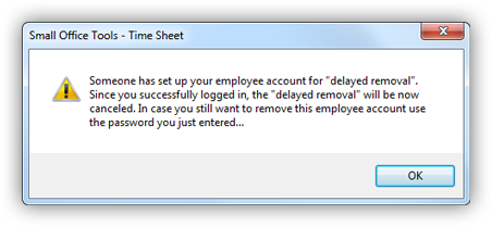 Delayed employee record removal warning