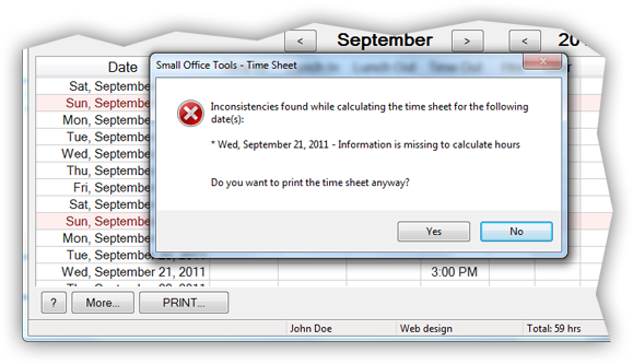 Error message before printing employee time record