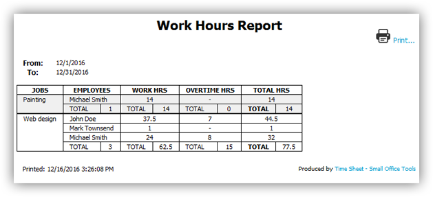 Work hours report printout