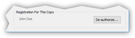 Example registration name in the About window.