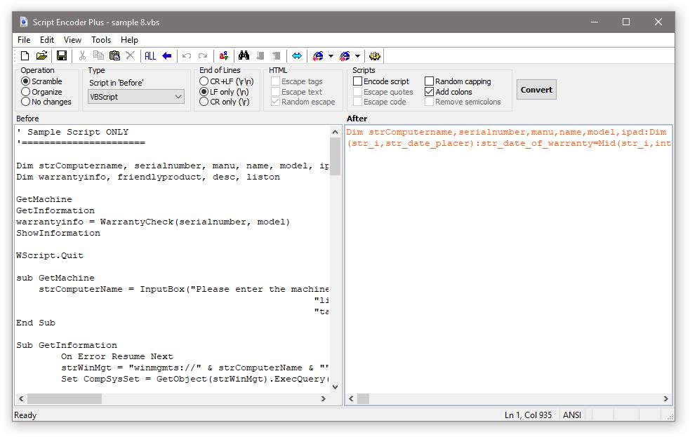 ScrEnc: Classic ASP Encoder, VBScript Source Code Encoder
